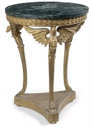 A CARVED GILTWOOD AND MARBLE M
