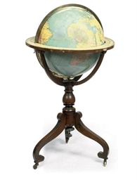 A TERRESTRIAL GLOBE AND WALNUT