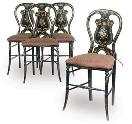 A SET OF FOUR EBONISED PARCEL-