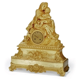 A FRENCH GILT-BRONZE MANTEL CL