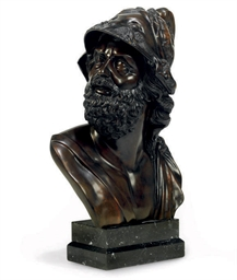 A BRONZE BUST OF AJAX