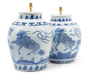 A NEAR-PAIR OF CHINESE BLUE AN