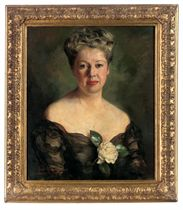 Portrait of a lady, bust-length, in a black dress with a white rose corsage