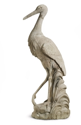 A COMPOSITION STONE MODEL OF A STORK