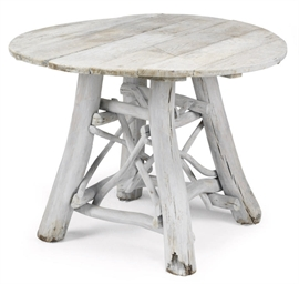 A WHITE-PAINTED CIRCULAR OAK T
