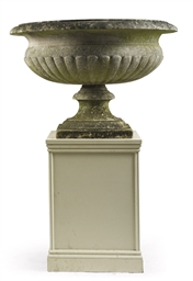 A CARVED MARBLE URN