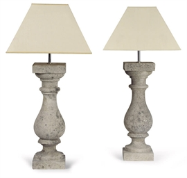 A PAIR OF LIMESTONE TABLE LAMP