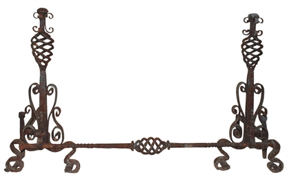 A PAIR OF WROUGHT-IRON FIRE-DO