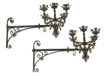 A PAIR OF FRENCH WROUGHT-IRON