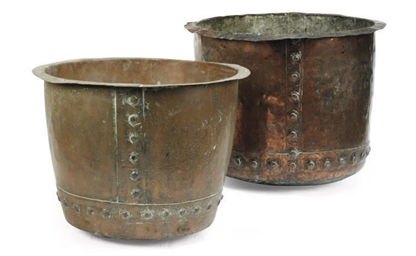A PAIR OF VICTORIAN COPPER VAT