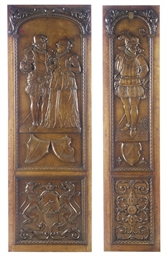 TWO RELIEF CARVED OAK PANELS