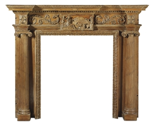 A GEORGE III PINE CHIMNEYPIECE