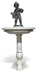 A BRONZE AND MARBLE FOUNTAIN