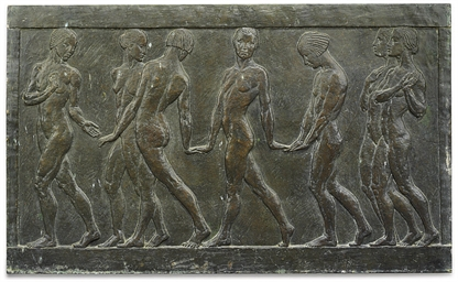 AN ENGLISH BRONZE RELIEF PANEL