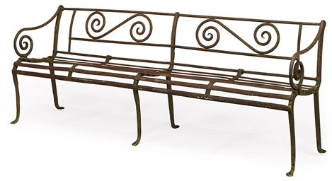 A WROUGHT-IRON GARDEN SEAT