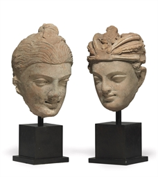 Two Terracotta Heads of Buddha