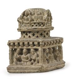 A Gray Schist Stupa Base