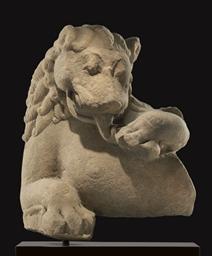 A buff sandstone figure of a l