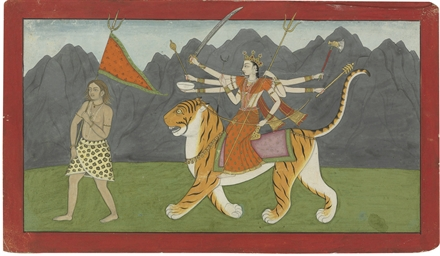 A painting of Devi Astride her