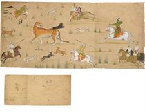 A painting of Raja Balwant Dev Singh on a Tiger Hunt