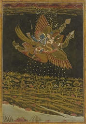 A Painting of Vishnu and Laksh
