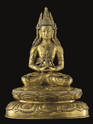 A gilt bronze figure of Amitay