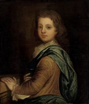 Portrait of a young boy, half-length, in a brown coat and blue wrap, his left hand resting on a stone parapet