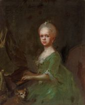 Portrait of a young girl, three-quarter-length, playing the pianoforte, in a green dress, with a dog