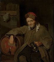 A man holding a pipe and a tankard, seated by a cask of ale in a tavern