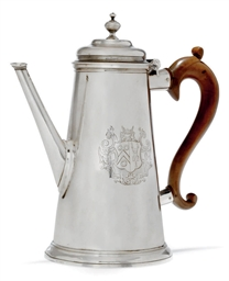 A GEORGE II SILVER COFFEE POT,