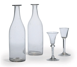 TWO WINE-GLASSES AND TWO BOTTL