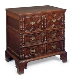 A CHARLES II OAK THREE-DRAWER
