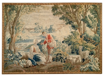 AN AUBUSSON WOOL TAPESTRY