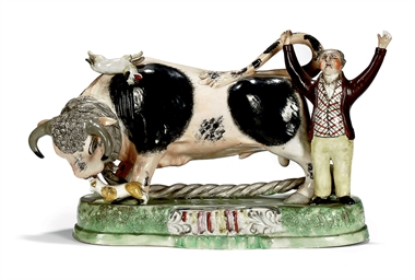 A STAFFORDSHIRE PEARLWARE BULL