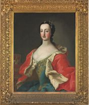 Portrait of a princess, half-length, in a blue dress with gold embroidery and an ermine trim cape, a crown on a table beside her