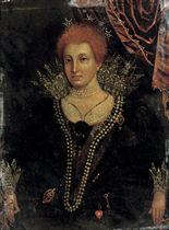 Portrait of a lady, thought to be Anne of Denmark (1574-1619), three-quarter-length, in a black dress with lace cuffs and ruff, pearls and ornaments