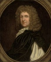Portrait of a gentleman, bust-length, in black robes, in a sculpted cartouche