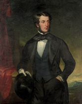 Portrait of a gentleman, traditionally identified as Nicholas Wood (1795-1865), three-quarter-length, in a black coat and a blue waistcoat, a top hat in his right hand, a mountainous landscape beyond