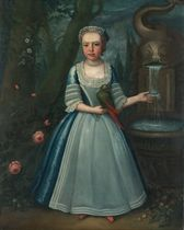 Portrait of Elizabeth Kettle (1730-1800), full-length, in a blue dress, a parakeet resting on her right hand, standing beside a fountain in a wooded landscape