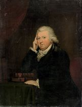 Portrait of Charles Schlin, half-length, in a blue coat, his left hand resting on a table with Thomas Rutherforth's Natural Philosophy, Vols. I & II (Cambridge, 1748)