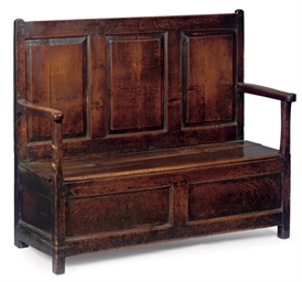A GEORGE III OAK BOX-SEAT SETT