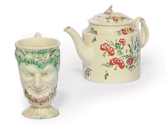 AN ENGLISH CREAMWARE JUG AND T