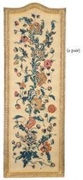A PAIR OF CREWELWORK SCREEN PA