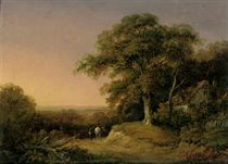 A wooded landscape with travellers on a track beside a cottage