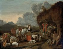 A hunting party at rest in a rocky landscape