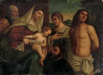 The Holy Family with Saint Catherine, Saint Sebastian and donor