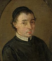 Portrait of a cleric, bust-length, in cleric's robes, in a painted shaped top