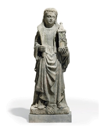 A FRENCH STONE FIGURE OF SAINT