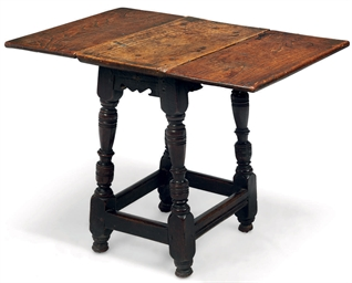 A CHARLES II OAK AND ELM DROP-
