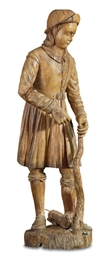A FRENCH CARVED-WOOD FIGURE OF
